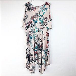 ECI Pink Cold Shoulder Floral Asymmetrical Dress